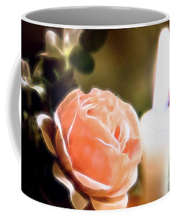 Coffee Mug featuring the digital art Romance In A Peach Rose by Linda Phelps