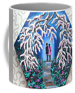 Romance Under Cherry Blossom Textured Hexagonal Painting  Coffee Mug