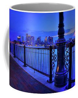 Coffee Mug featuring the photograph Romantic Boston - Boston Skyline At Night by Joann Vitali