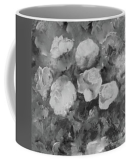 Coffee Mug featuring the painting Romantic Large Roses  by Robin Maria Pedrero