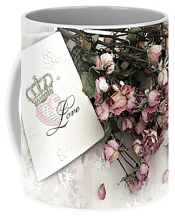 Coffee Mug featuring the photograph Romantic Pink Roses With Love Book - Shabby Chic Romantic Roses Love Books Decor Still Life  by Kathy Fornal