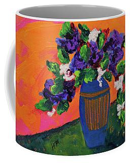 Romantic Purple Flowers In Blue Vase Coffee Mug