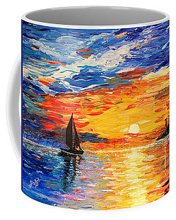 Coffee Mug featuring the painting Romantic Sea Sunset by Georgeta  Blanaru