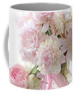 Romantic Shabby Chic Pink White Peonies - Shabby Chic Peonies Pastel Decor Coffee Mug