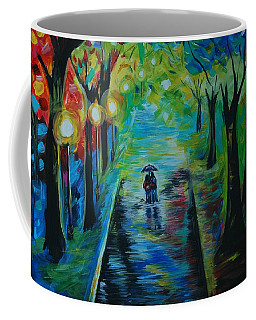Coffee Mug featuring the painting Romantic Stroll by Leslie Allen
