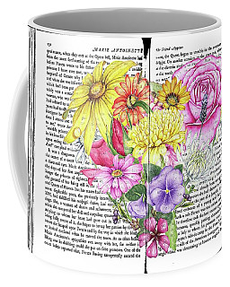 Coffee Mug featuring the mixed media Antique Romantic Novel Florals by Heidi Kriel