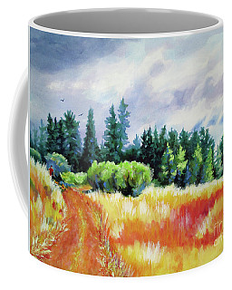 Coffee Mug featuring the painting Romp On The Hill by Kathy Braud