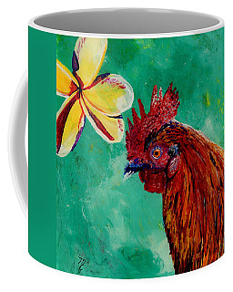 Rooster And Plumeria Coffee Mug by Marionette Taboniar