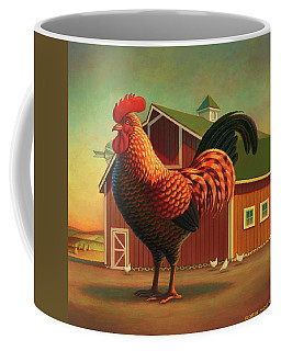 Rooster And The Barn Coffee Mug