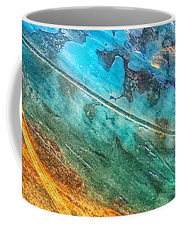 Coffee Mug featuring the painting Rose Gold And Teal Blue Abstract Painting by Marianna Mills