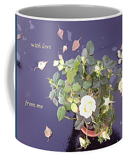 Rose On Glass Table With Loving Wishes Coffee Mug