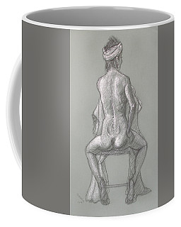 Coffee Mug featuring the drawing Rose Seated From The Back by Donelli  DiMaria