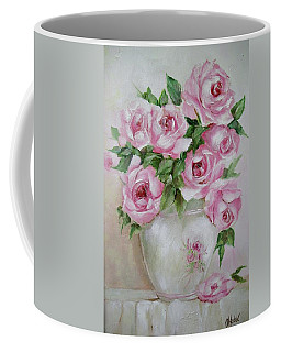 Coffee Mug featuring the painting Rose Vase by Chris Hobel