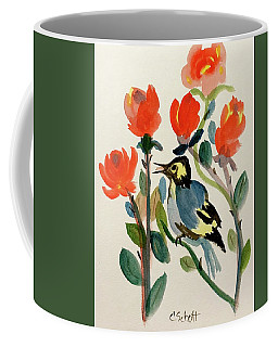 Rose With Blue Bird Coffee Mug