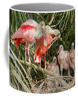 Roseate Spoonbill Family In The Nest Coffee Mug