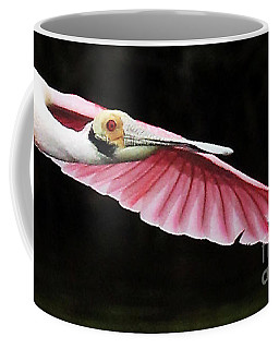 Roseate Spoonbill In Flight Coffee Mug