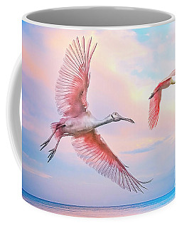 Roseate Spoonbills In Flight. Coffee Mug