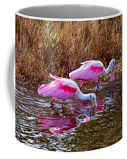 Roseate Spoonbills Swishing For Food Coffee Mug