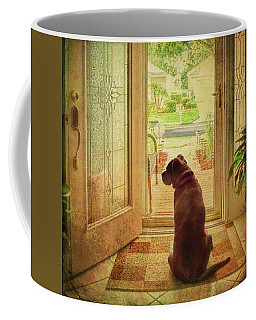 Coffee Mug featuring the photograph Rosebud At The Door by Lewis Mann