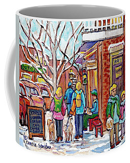 Rosemont Petite Patrie Montreal Art Winter Montreal Painting L'etincelle Cafe Rue Beaubien C Spandau Coffee Mug
