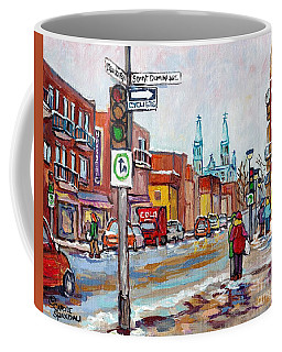 Rosemont Petite Patrie Montreal Winter Scene Art View Of Eglise Saint Edouard Quebec Art C Spandau Coffee Mug
