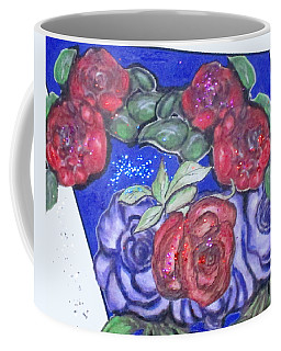 Coffee Mug featuring the mixed media Roses And Blue by Clyde J Kell