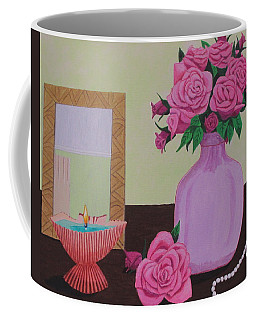 Coffee Mug featuring the painting Roses And Pearls by Hilda and Jose Garrancho