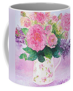 Roses In A Pink Floral Jug Coffee Mug by Jan Matson