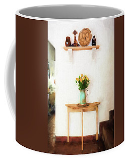 Coffee Mug featuring the digital art Rose's On Table by Lou Novick