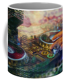 Coffee Mug featuring the digital art Rotterdam And Dj Music by Ariadna De Raadt