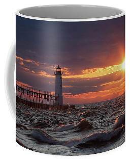 Coffee Mug featuring the photograph Rough Water Sunset by Fran Riley