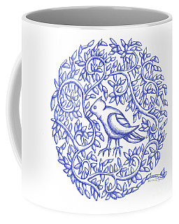 Coffee Mug featuring the drawing Round Bird January 17 by Donna Huntriss