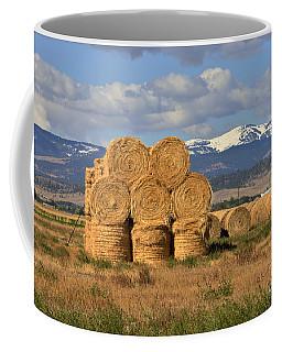 Round Hay Bales And Mountain Coffee Mug