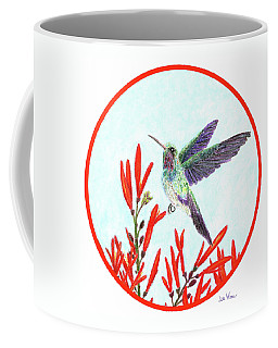 Coffee Mug featuring the painting Round Hummingbird In Opening by Lise Winne