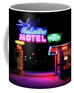 Coffee Mug featuring the painting Route 66 Blue Swallow Motel by Christopher Arndt