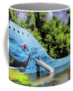Coffee Mug featuring the painting Route 66 Blue Whale Of Catoosa by Christopher Arndt