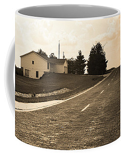 Coffee Mug featuring the photograph Route 66 - Brick Highway Sepia by Frank Romeo