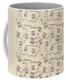 Route 66 Map-jp3960-b Coffee Mug