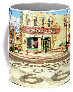Coffee Mug featuring the painting Route 66 Standing On The Corner In Winslow Arizona Street by Christopher Arndt