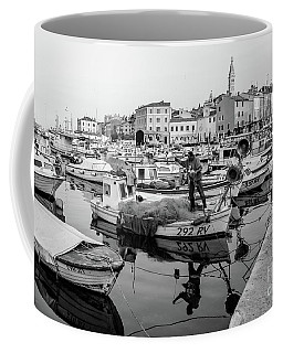 Rovinj Fisherman Working In Old Town Harbor - Rovinj, Istria, Croatia Coffee Mug