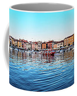 Rovinj Harbor And Boats Panorama Coffee Mug