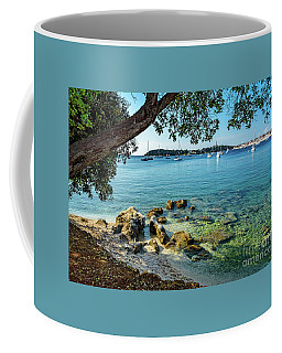 Rovinj Old Town, Harbor And Sailboats Accross The Adriatic Through The Trees Coffee Mug