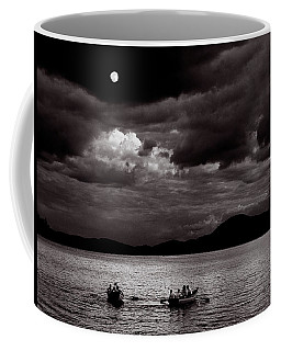 Coffee Mug featuring the photograph Rowing By Moonlight by Wayne King
