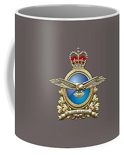 Royal Canadian Air Force Badge Over Waving Flag Coffee Mug