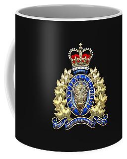 Royal Canadian Mounted Police - Rcmp Badge On Black Leather Coffee Mug