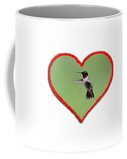 Ruby-throated Hummingbird In Heart Coffee Mug