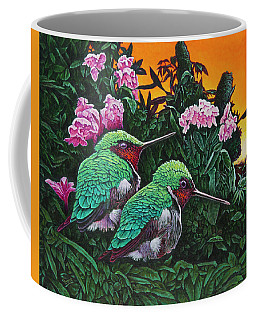 Coffee Mug featuring the painting Ruby-throated Hummingbirds by Michael Frank