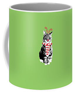 Rudolph The Red Nosed Cat- Art By Linda Woods Coffee Mug