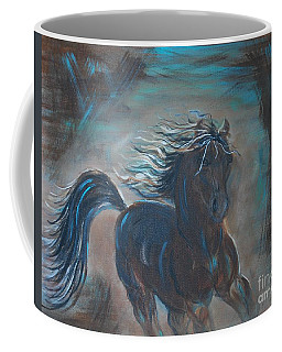 Coffee Mug featuring the painting Run Horse Run by Leslie Allen