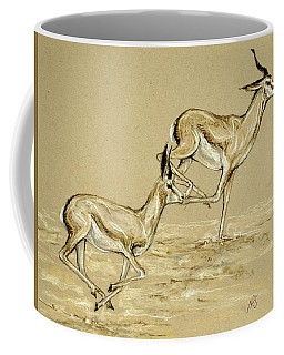 Coffee Mug featuring the drawing Running Free by Heidi Kriel